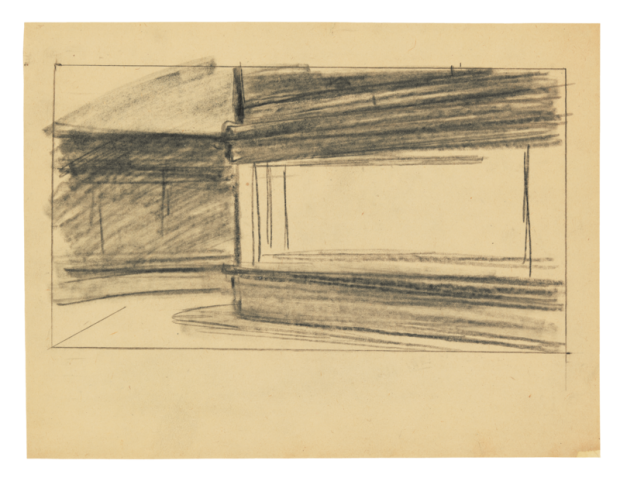 Study for 'Nighthawks' by Edward Hopper, 1941 or 1942, fabricated chalk on paper, 8 1/2 x 11 in., Whitney Museum of American Art, New York; Josephine N. Hopper Bequest 70.195