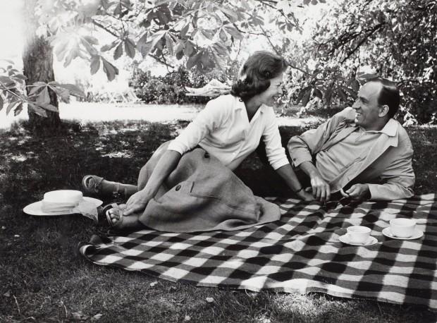 Ingmar Bergman and Käbi Laretei on a picnic blanket photographed by Lennart Nilsson, 1960s