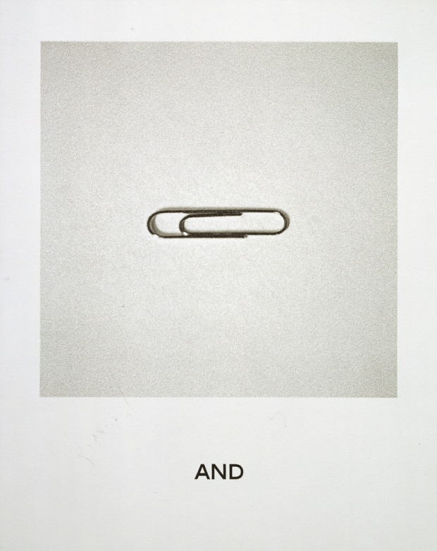 """And"" from the 'Goya Series', by John Baldessari, 1997. Ink jet and synthetic polymer paint on canvas, 6' 3"" x 60"" (190.5 x 152.3 cm). Mr. and Mrs. Thomas H. Lee Fund. © John Baldessari"