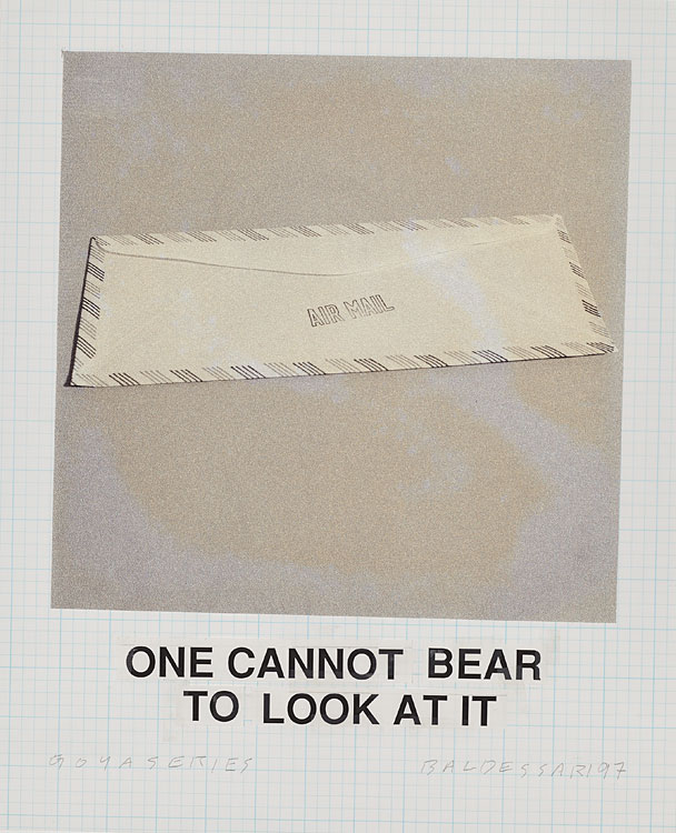 """One cannot bear to look at it"" from the 'Goya Series' by John Baldessari, 1997, ink-jet print, sign painter's lacquer, acrylic and gesso on canvas, 75 x 60 inches"