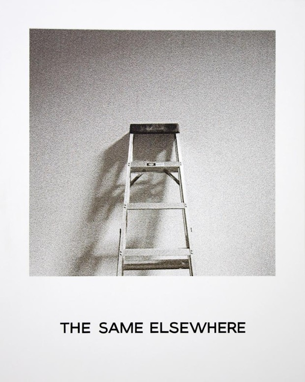 """The same elsewhere"" from the 'Goya Series' by John Baldessari, 1997, Inkjet print and hand lettering on canvas, 75 x 60 in."