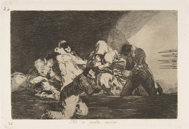 """One Can't Look"" (""No se puede mirar"") by Goya, Plate 26 of 'The Disasters of War', etched about 1810 – 1820 (published 1863)."