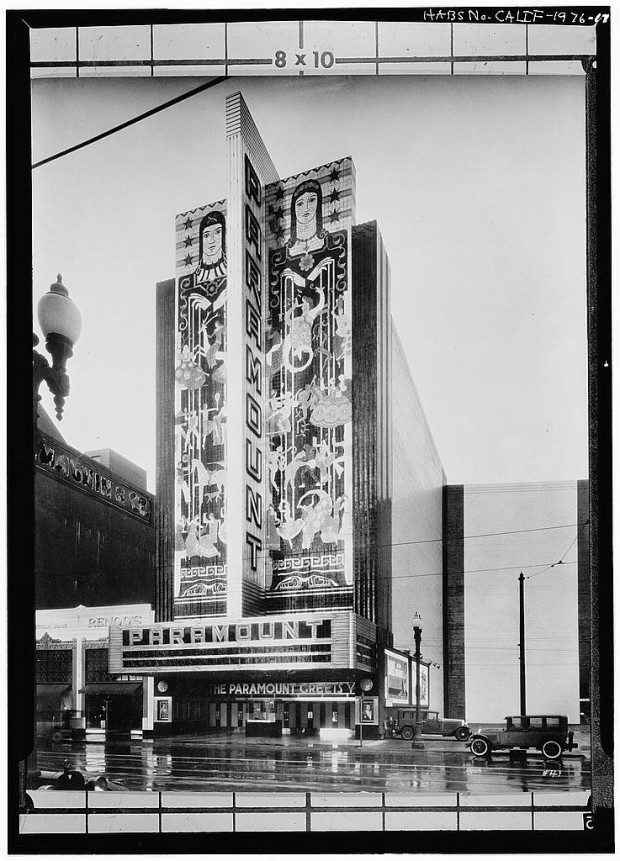 The Paramount Theatre in Oakland (CA), 1932. From the archive of the Historic American Buildings Survey at The Library of Congress. Reproduction Number: HABS CAL,1-OAK,9--17. Public domain.