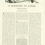 "Original publication of John Hersey's essay ""Hiroshima"" in The New Yorker, August 31, 1946, p. 15"