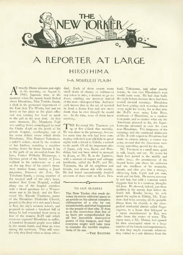 "Original publication of John Hersey's essay ""Hiroshima"" in The New Yorker, August 31, 1946, p. 15"