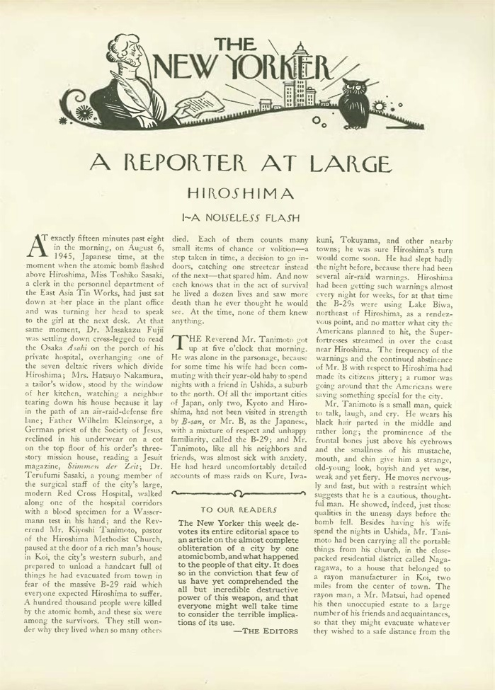 "a noiseless flash john hersey s hiroshima  original publication of john hersey s essay ""hiroshima"" in the new yorker 31"