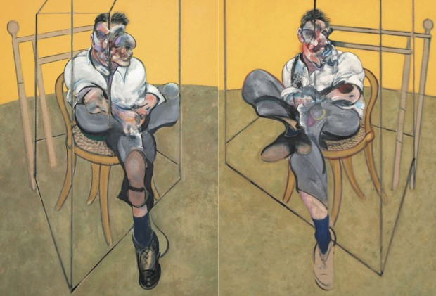 """Three Studies of Lucian Freud"" (detail) by Francis Bacon, 1969, oil on canvas, each (unframed): 78 x 58 in. (198 x 147.5 cm.). Image retrieved from Christie's e-Catalogue, pp. 56-57."