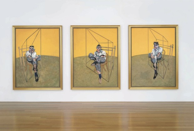 """Three Studies of Lucian Freud"" by Francis Bacon, 1969, oil on canvas, each (unframed): 78 x 58 in. (198 x 147.5 cm.)"