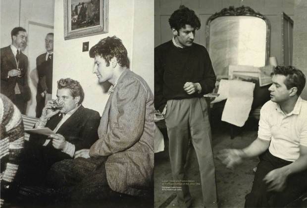 LEFT: Francis Bacon and Lucian Freud at the Royal College of Art, circa 1952; RIGHT: Francis Bacon and Lucian Freud at the Royal College of Art, circa 1952. Photograph: Daniel Farson. © Marlborough Gallery. Image retrieved from Christie's e-Catalogue, pp. 54, 18.