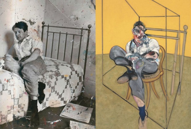 "LEFT: Photograph of Lucian Freud (detail) by John Deakin, circa 1964. © The Estate of Francis Bacon; RIGHT: ""Three Studies of Lucian Freud"" (detail) by Francis Bacon, 1969. Image retrieved from Christie's e-Catalogue, pp. 150-151."