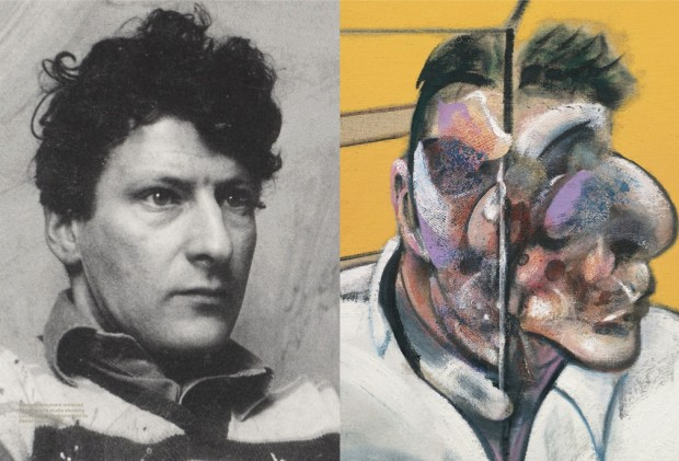 "LEFT: Working document retrieved from Bacon's studio showing Lucian Freud photographed by Daniel Earson, 1963; RIGHT: ""Three Studies of Lucian Freud"" (detail) by Francis Bacon, 1969. Image retrieved from Christie's e-Catalogue, pp. 158-159."