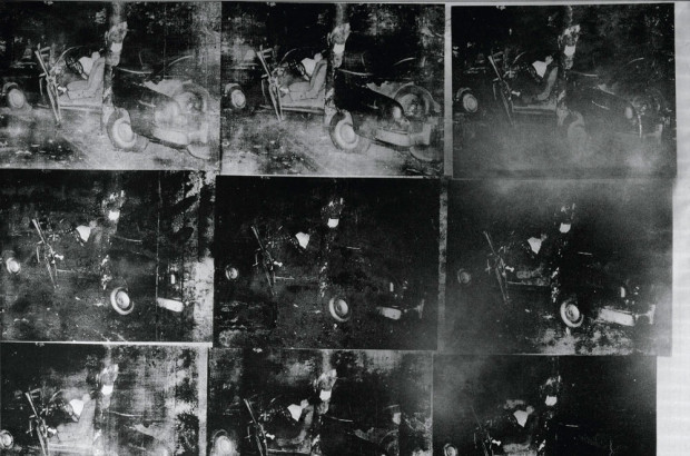 """Silver Car Crash (Double Disaster)"" (detail) by Andy Warhol, 1963. Image retrieved from Sotheby's."