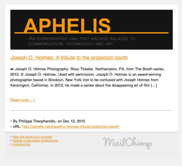 Example of an email notification provided through Aphelis Newsletter.