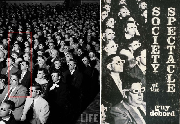 LEFT: J.R. Eyerman original photo from 1952 with indication of cropped section; LEFT Cover of the English edition of Society of Spectacle from 1983.