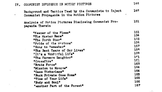 "Federal Bureau of Investigation file no. 100-HQ-138754 ""Communist Infiltration of the Motion Picture Industry"" (COMPIC), Part 7 (of 15), Serial 251x1, detail from index of section IV (page 9 of the document compic7a.pdf)."