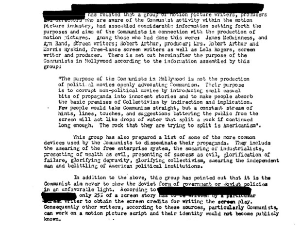 "Federal Bureau of Investigation file no. 100-HQ-138754 ""Communist Infiltration of the Motion Picture Industry"" (COMPIC), Part 7 (of 15), Serial 251x1, detail from page 150 mentioning Ayn Rand  (page 57 of the document compic7b.pdf)."