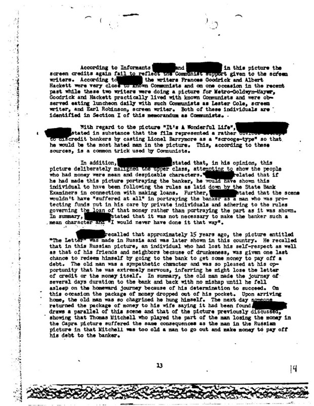 "Federal Bureau of Investigation file no. 100-HQ-138754 ""Communist Infiltration of the Motion Picture Industry"" (COMPIC),  Part 9 of 15, Serial 1003 (part 2), page 13 (page 14 of the document compic9a.pdf)."