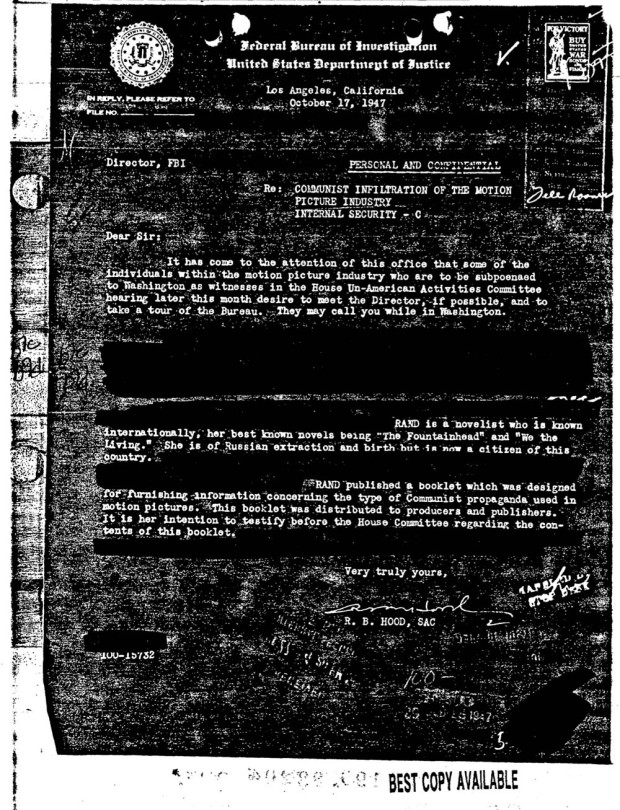 FBI memo regarding a booklet published by Ayn Rand on the subject of Communism and motion pictures. Retrieved from PaperlessArchives.com