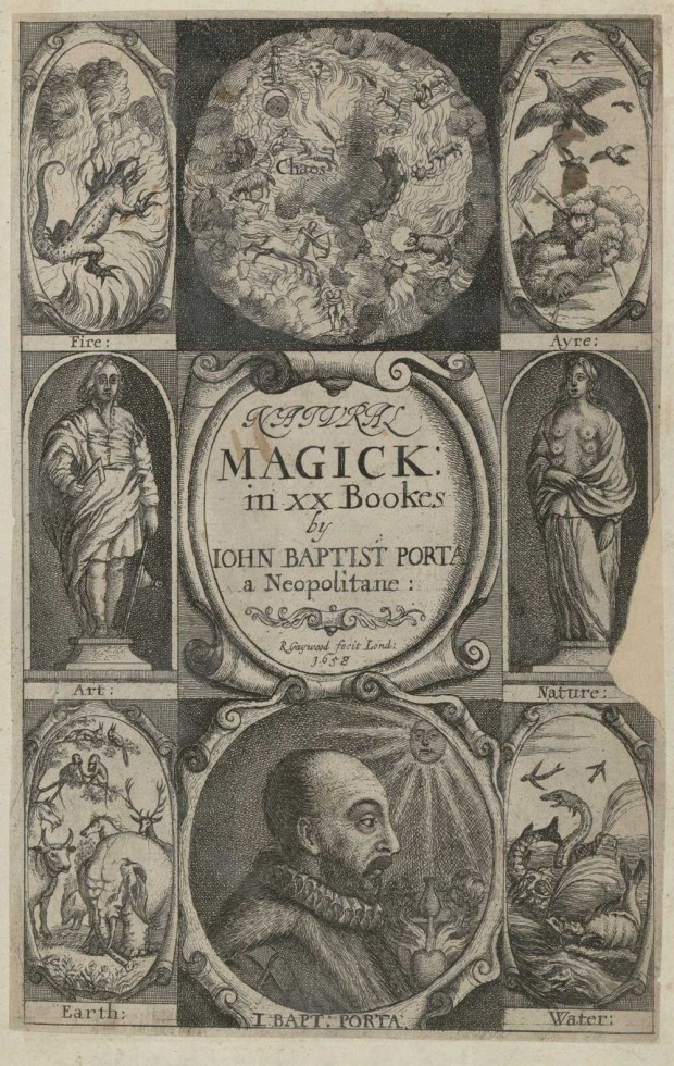 Frontispiece of Giambattista della Porta´s  Natural magick, London, Printed for T. Young and S. Speed, 1658. Retrieved from the Library of Congress.