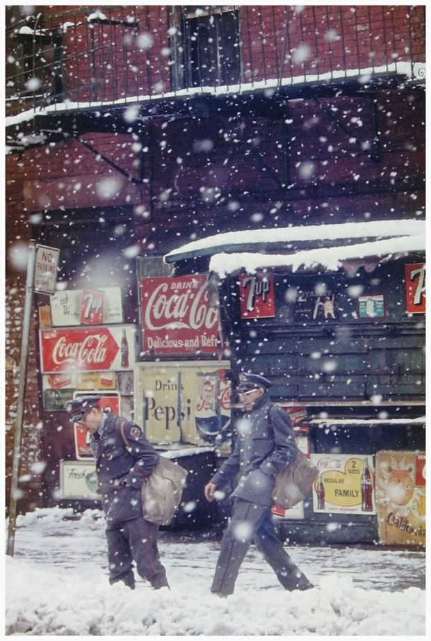 """Postmen"" by Saul Leiter, 1952. Published in 'Saul Leiter: Early Color' (Seidl, 2006). © Saul Leiter."