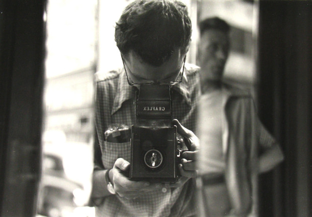 Untitled (self-portrait) by Saul Leiter, circa 1950s © Saul Leiter. Image retrieved from ahorn magazine.