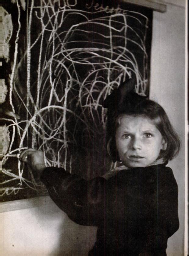 """Tereska Draws Her Home"", photo by David Seymour, Vol. 25, No. 26, December 27,  1948, p. 16"