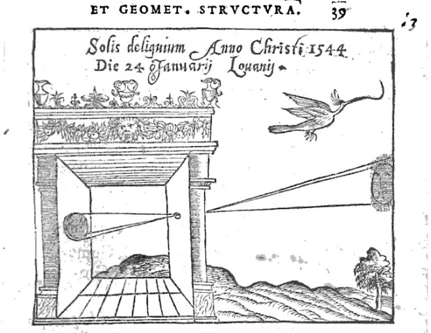 One of the first drawings of a camera obscura in 'De Radio Astronomica et Geometrica' by Rainer Gemma Frisiu, first published in 1545. Retrieved from Google Books.