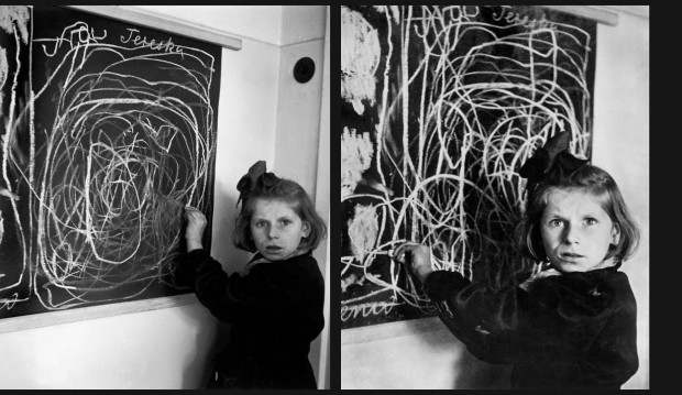"""Teresa, a child in a residence for disturbed children, grew up in a concentration camp. She drew a picture of ""home"" on the blackboard. 1948."" by David Seymour. LEFT: Magnum Image Reference Image Reference SED1948029W00010/5-109R(PAR192677), RIGHT: Magnum Image Reference SED1948029W00010/X02C (PAR150821). © The Estate of David Seymour."