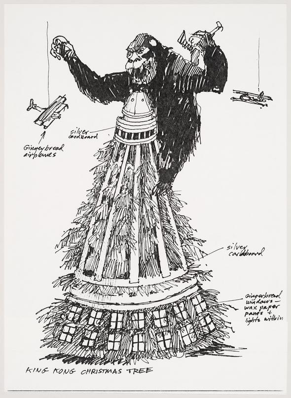 Retrieved from the Canadian Centre for Architecture Collection: James Wines, hand drawing of a King Kong figure atop a Christmas tree. Invitation sent to Gordon Matta-Clark to attend SITE's Christmas party, 60 Greene Street, New York City, December 28, 1976. 35.4 x 21.6 cm. CCA Collection. PHCON2002:0016:004:085. Gift of Estate of Gordon Matta-Clark © SITE