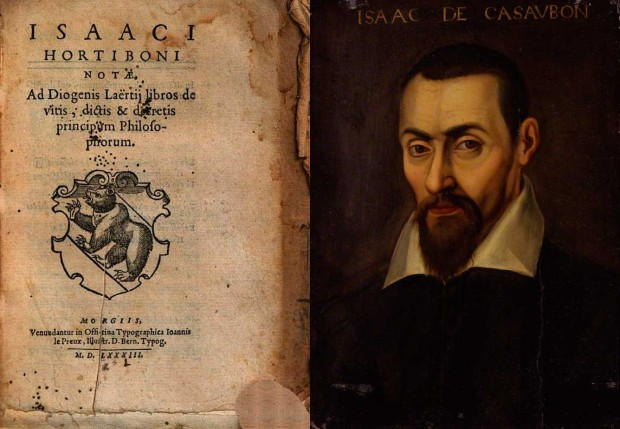 LEFT: Frontispiece of 'In Diogenem Laertium Notae Isaaci Hortiboni', 1583. RIGHT: Portrait of Isaac Casaubon, unknown artist, late 16th or early 17th century. National Portrait Gallery