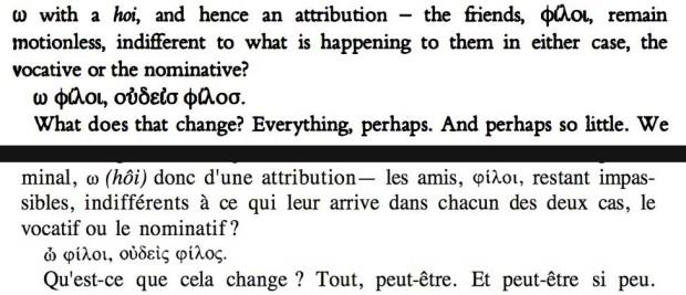 TOP: The Politics of Friendship, New York: Verso, [1994]2005, pp. 189; BOTTOM: Politiques de l'amitié, Paris: Galilée, 1994, p. 217