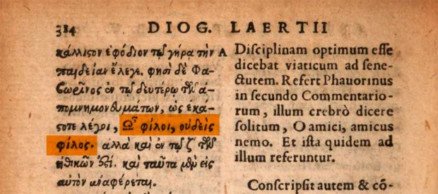 'Lives of Eminent Philosophers' by Diogenes Laertius, Excvd. Henr. Steph., Genevae, 1593, p. 314 (emphasis on detail)