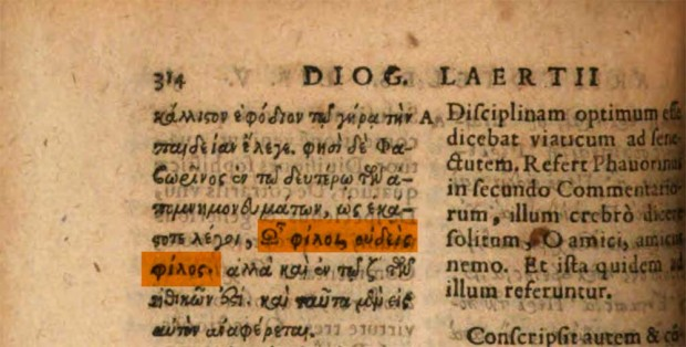 'Lives of Eminent Philosophers' by Diogenes Laertius, Excvd. Henr. Steph., Genevae, 1594, p. 314 (emphasis on detail)