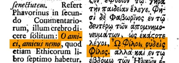 'Lives of Eminent Philosophers' by Diogenes Laertius, edition by Daniel Longolius , Volume I, 1739, p. 481 (emphasis on detail)