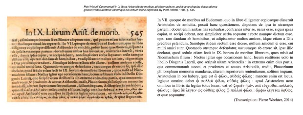 'Commentarii in X libros Aristotelis de moribus ad Nicomachum' by Piero Vettori, 1584, p. 545 (detail with transcription)