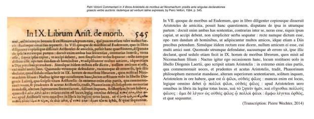 'Commentarii in X libros Aristotelis de moribus ad Nicomachum' by Piero Vettori, 1584, p. 545 (detail with transcription)
