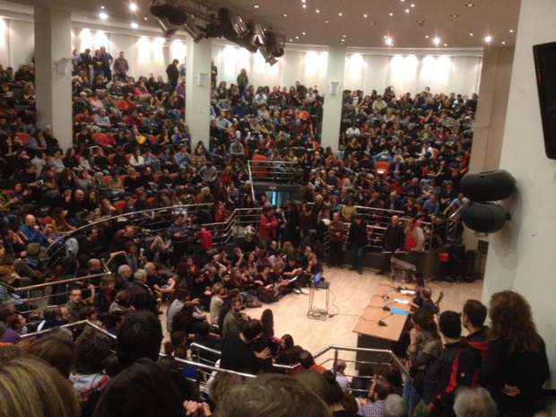 """Giorgio Agamben delivering his lecture """"For a Theory of Destituent Power"""", Athens, November 2013"""