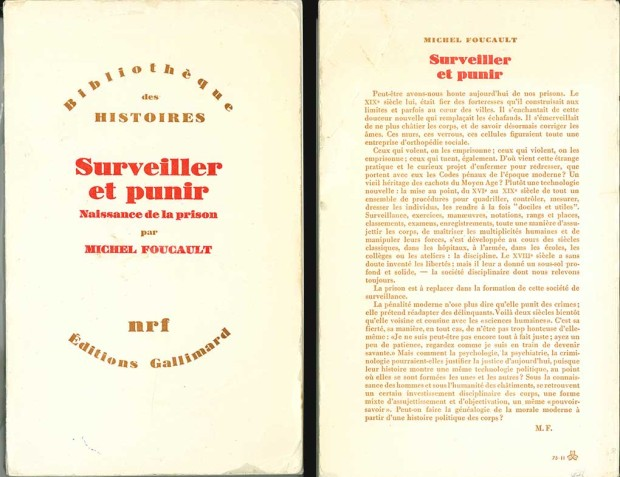 Front and back covers of the first edition of Michel Foucault's 'Surveiller et punir' (1975)