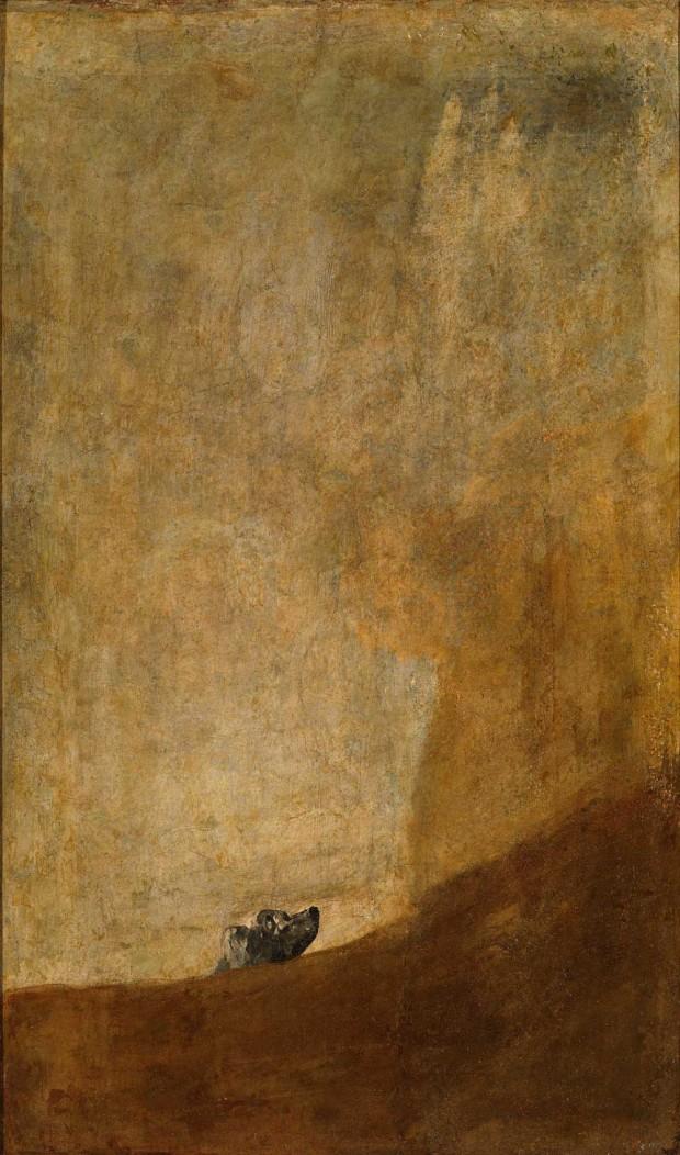 """Perro semihundido"" by Fransisco Goya, 131 cm x 79 cm, c1820, <a href=""https://www.museodelprado.es/goya-en-el-prado/obras/ficha/goya/perro-semihundido/"">Museo Nacional del Prado</a>"
