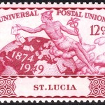 Mercury, the Roman adaptation of Hermes, is seen spreading letters on this St. Lucia stamp from  1949. Retrieved from Wikimedia commons.