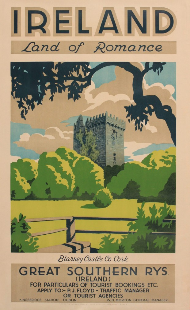 """Ireland Land of Romance, Blarney Castle Co Cork"", travel poster for the Great Southern Railways, by G.H. Bland, c1930. Image retrieved from Onslows Auctioneers."