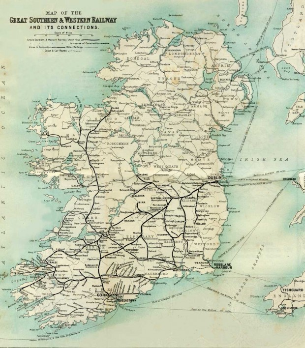 Map of the Great Southern and Western Railwayand its Connections in Ireland, 1902. Retrieved from the book 'The Sunny Side of Ireland' by John O'Mahony, 1902