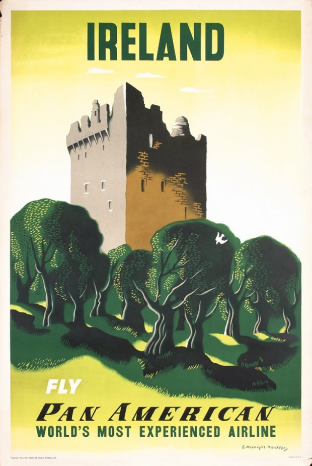 """Ireland. Fly Pan American"" advertising poster for Pan American Airlines by Edward McKnight Kauffer, c.1953"