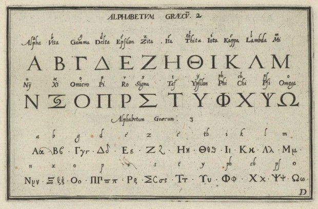 """Alphabetum Graecum"" (cropped) by Johann Theodor Bry, 1596."
