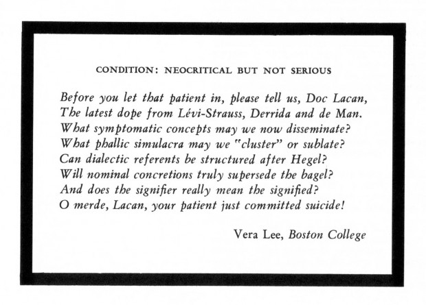 """Condition: Neocritical But Not Serious"" by Vera Lee, 1973"