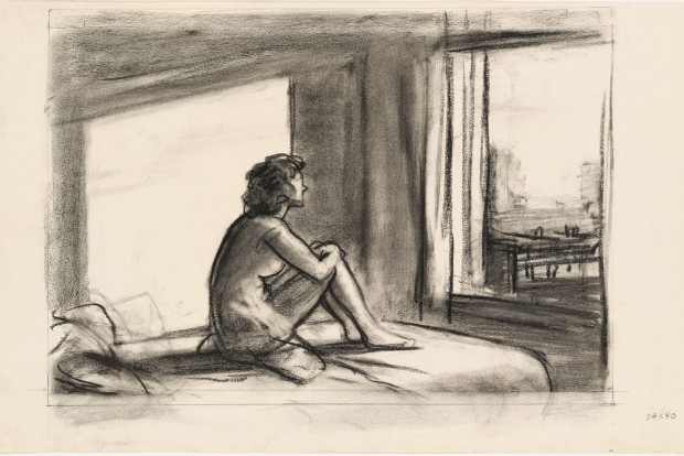 Edward Hopper, Study for Morning Sun, 1952. Fabricated chalk on paper, 12 × 19 in. (30.5 × 48.3 cm). Whitney Museum of American Art, New York; Josephine N. Hopper Bequest  70.244