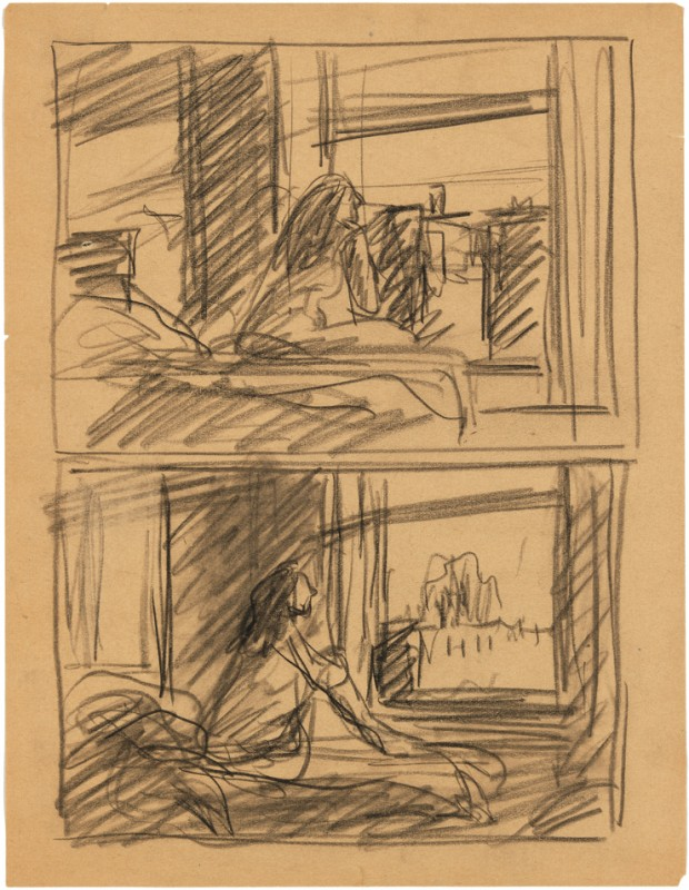 Edward Hopper, Study for Morning Sun, 1952. Fabricated chalk on paper, 11 × 8 1/2 in. (27.9 × 21.6 cm). Whitney Museum of American Art, New York; Josephine N. Hopper Bequest  70.243