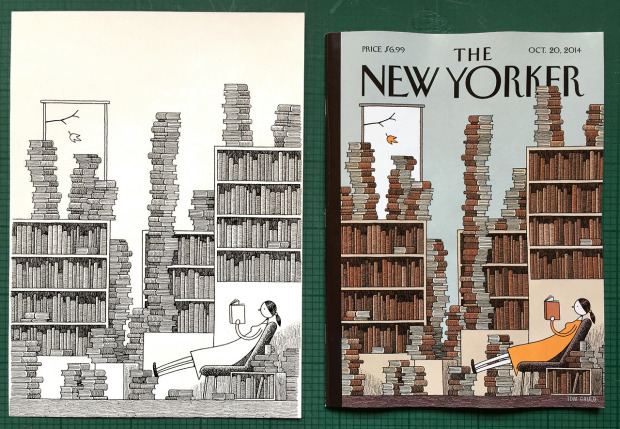 """Original drawing and final cover illustration: """"Fall Library"""" by Tom Gauld, The New Yorker, October 20, 2014."""