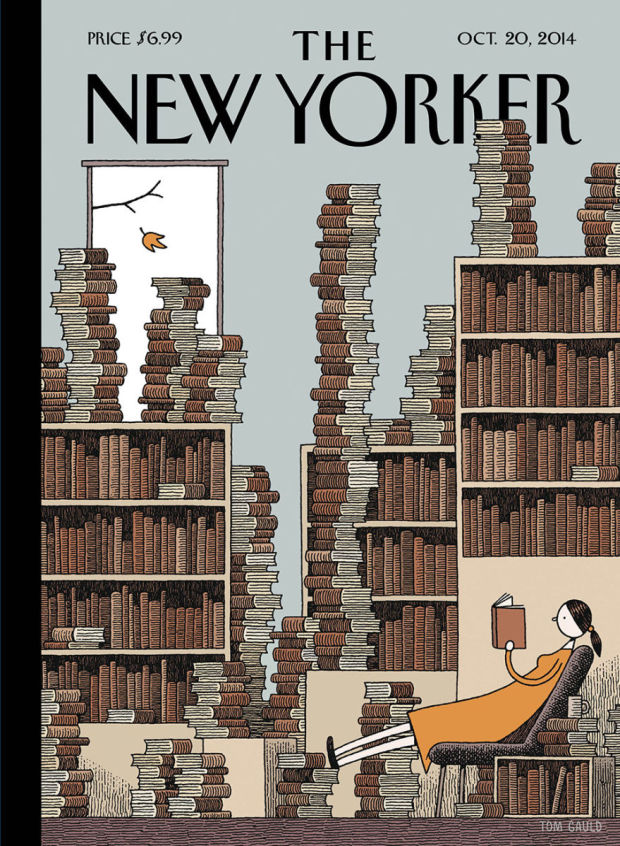 """Cover illustration for The New Yorker: """"Fall Library"""" by Tom Gauld, October 20th, 2014."""