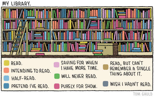 """""""My Library"""" by Tom Gauld, cartoon for The Guardian, May 24, 2014."""